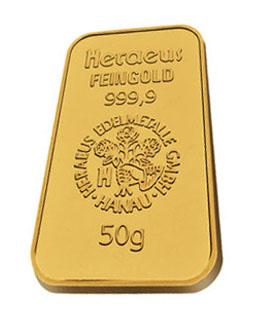 50 gram gold bullion bar